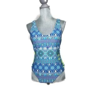 Swim One Piece Suit - YMI Blue and Green
